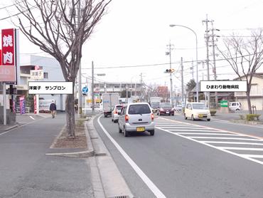 小松原街道、北へ 右手ミニストップが見えてきます
